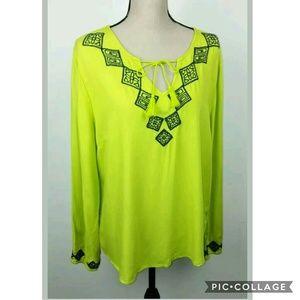 Crown & Ivy Green Black Embroidered Boho Shirt